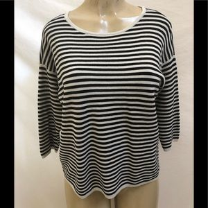 Eileen Fisher 3/4 sleeve striped pullover top M